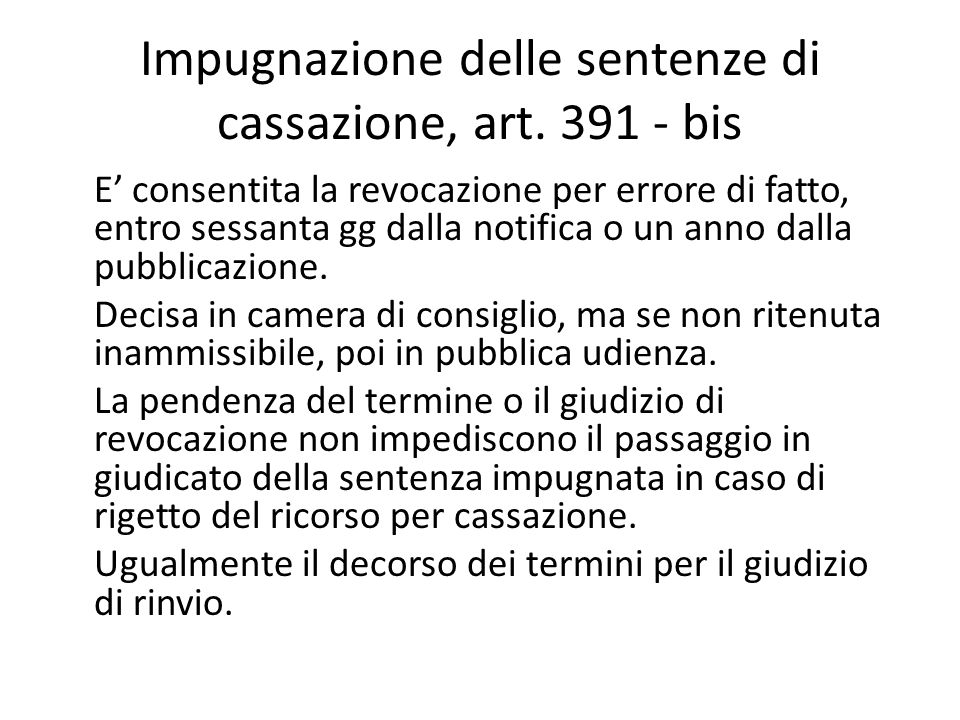 Impugnazione delle sentenze di cassazione, art. 391 - bis