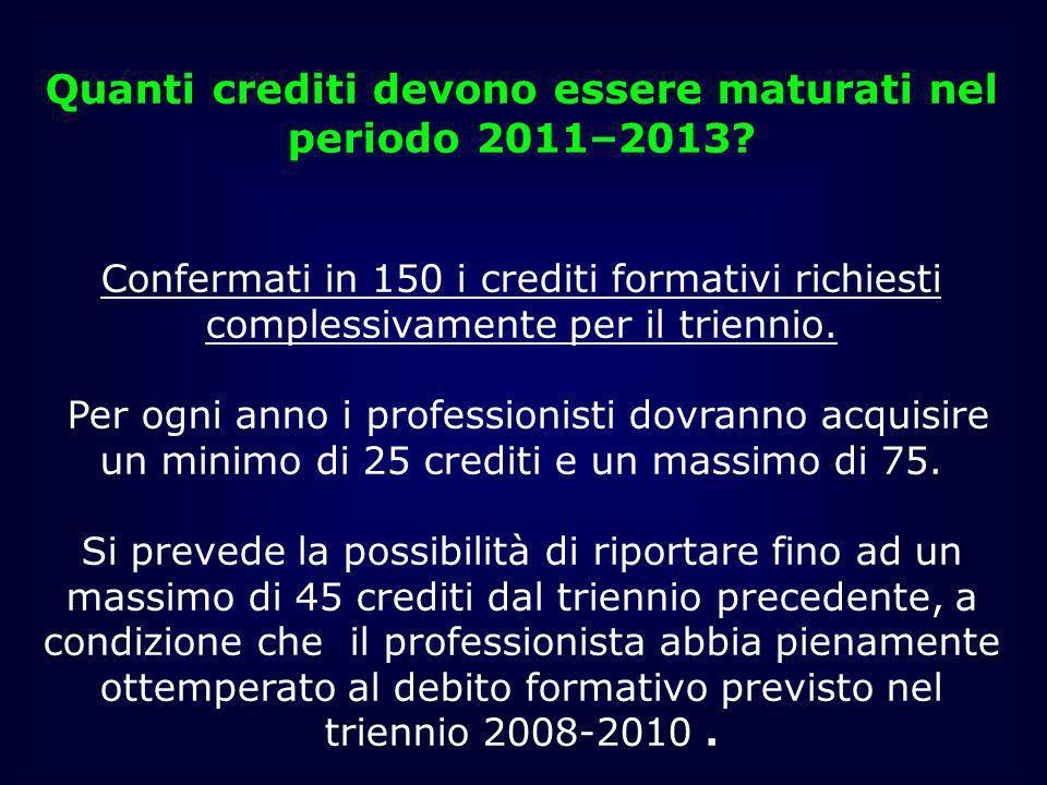 Quanti crediti devono essere maturati nel periodo 2011–2013