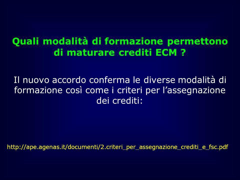 Quali modalità di formazione permettono di maturare crediti ECM
