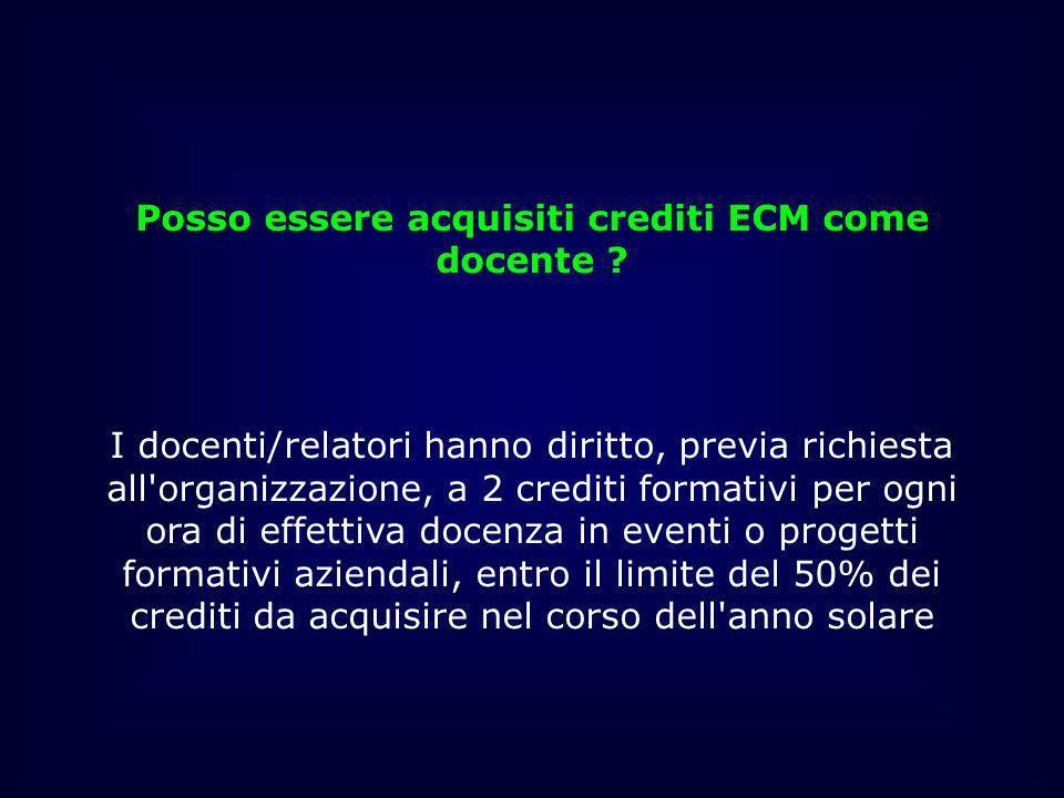 Posso essere acquisiti crediti ECM come docente