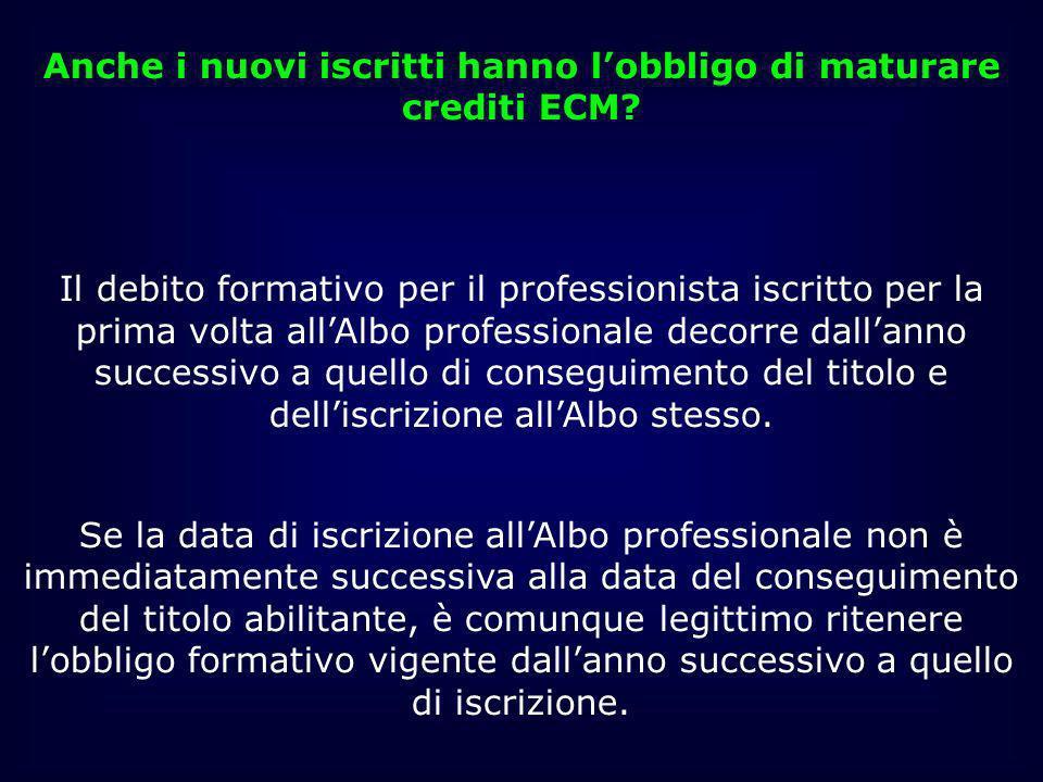 Anche i nuovi iscritti hanno l'obbligo di maturare crediti ECM