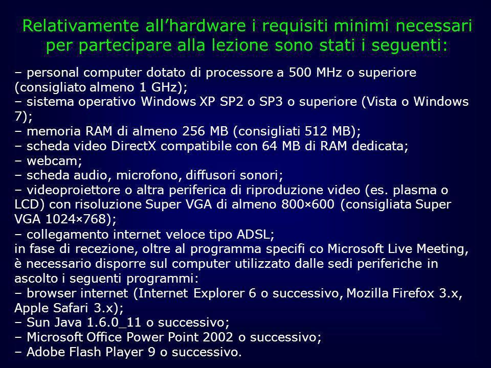 Relativamente all'hardware i requisiti minimi necessari per partecipare alla lezione sono stati i seguenti:
