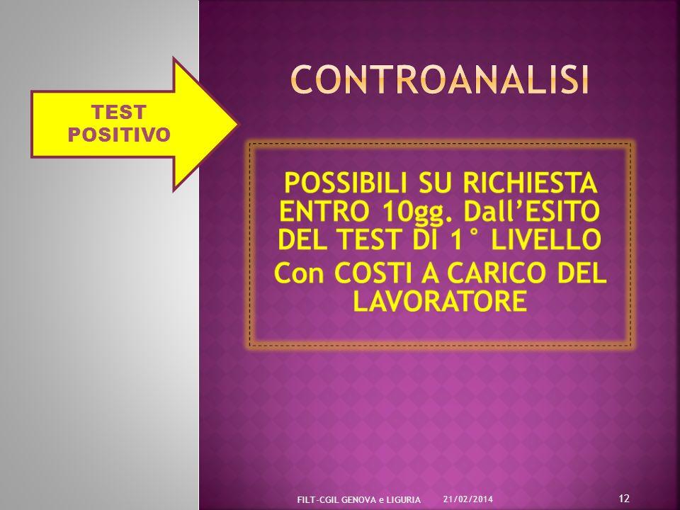 CONTROANALISI TEST POSITIVO. POSSIBILI SU RICHIESTA ENTRO 10gg. Dall'ESITO DEL TEST DI 1° LIVELLO.