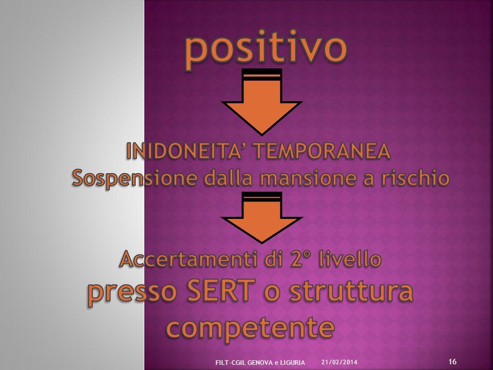 positivo presso SERT o struttura competente INIDONEITA' TEMPORANEA