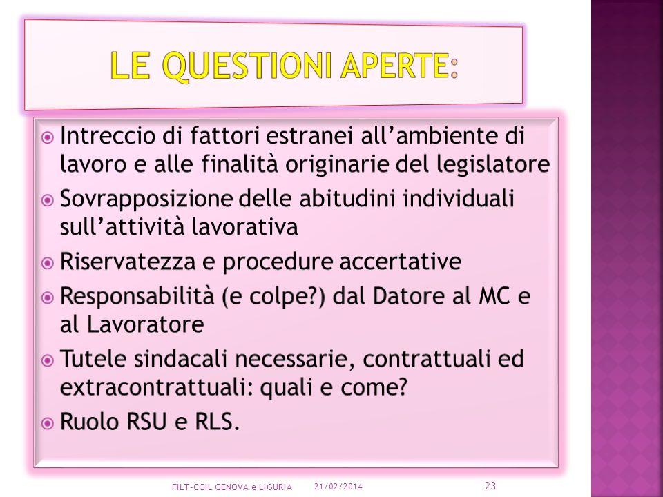 Le Questioni aperte: Intreccio di fattori estranei all'ambiente di lavoro e alle finalità originarie del legislatore.