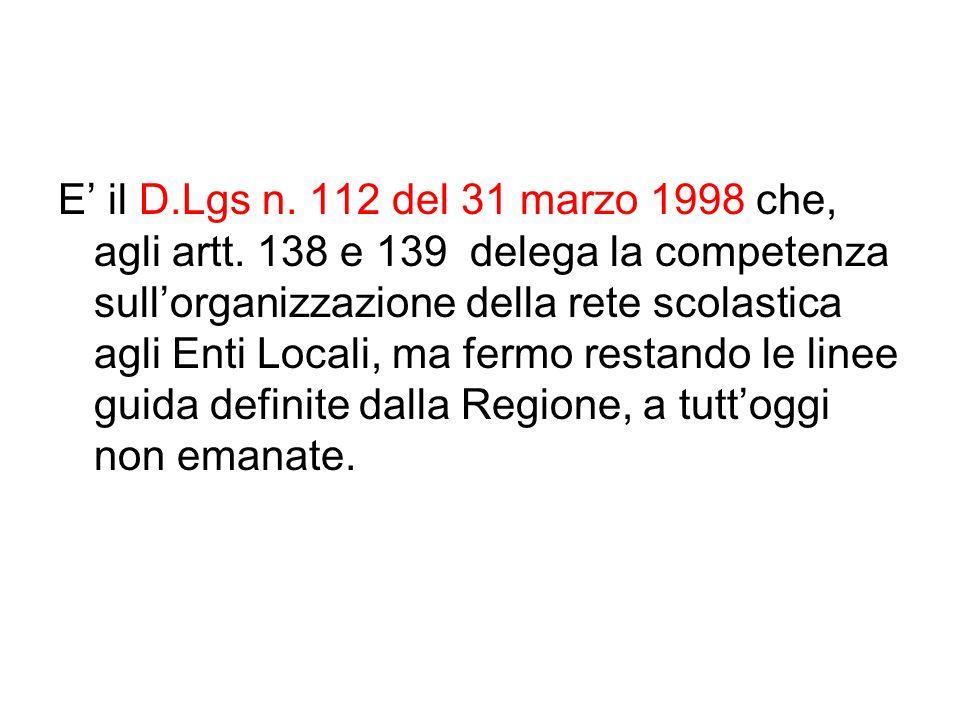 E' il D. Lgs n. 112 del 31 marzo 1998 che, agli artt
