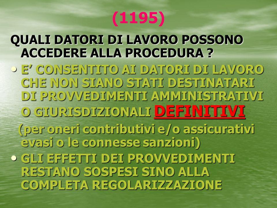 (1195) QUALI DATORI DI LAVORO POSSONO ACCEDERE ALLA PROCEDURA
