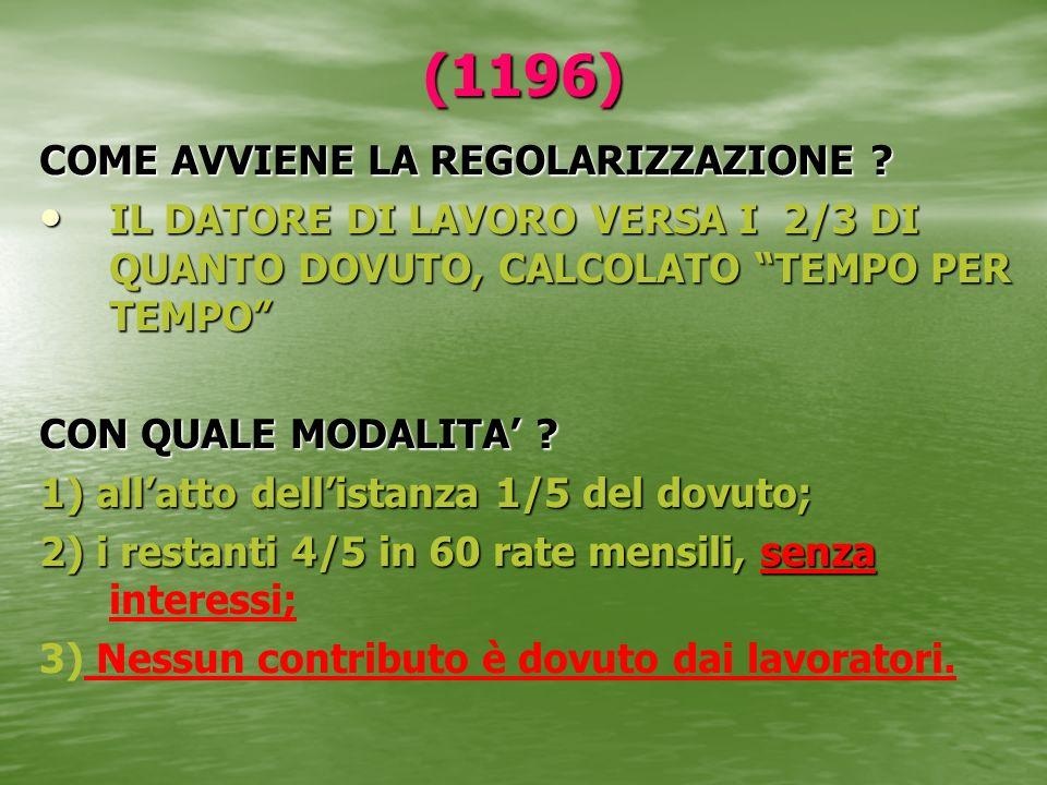 (1196) COME AVVIENE LA REGOLARIZZAZIONE