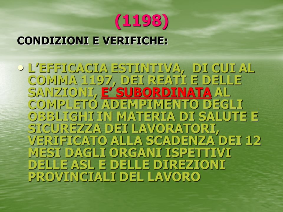 (1198) CONDIZIONI E VERIFICHE: