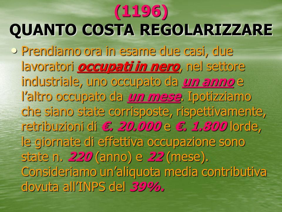 (1196) QUANTO COSTA REGOLARIZZARE