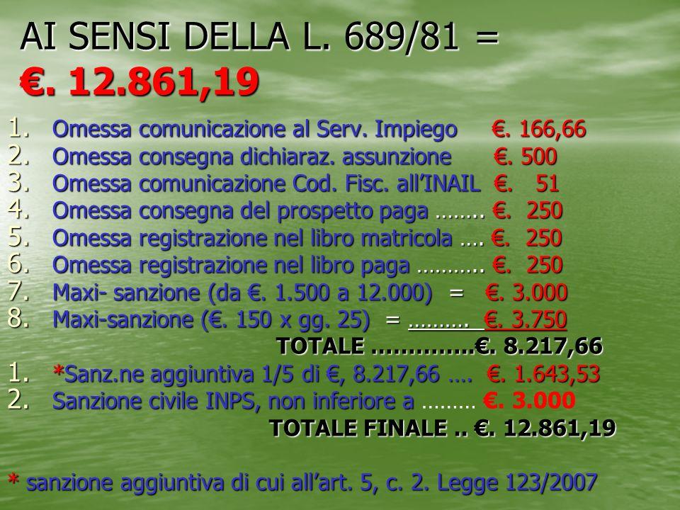 AI SENSI DELLA L. 689/81 = €. 12.861,19 Omessa comunicazione al Serv. Impiego €. 166,66.