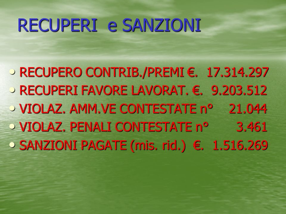 RECUPERI e SANZIONI RECUPERO CONTRIB./PREMI €. 17.314.297
