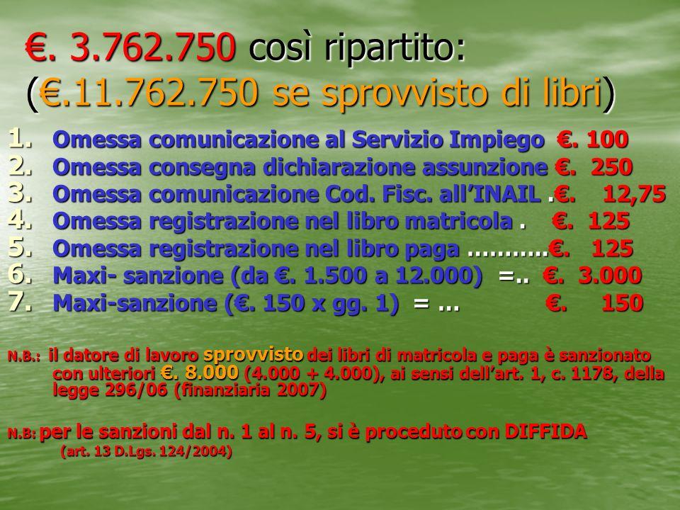 €. 3.762.750 così ripartito: (€.11.762.750 se sprovvisto di libri)