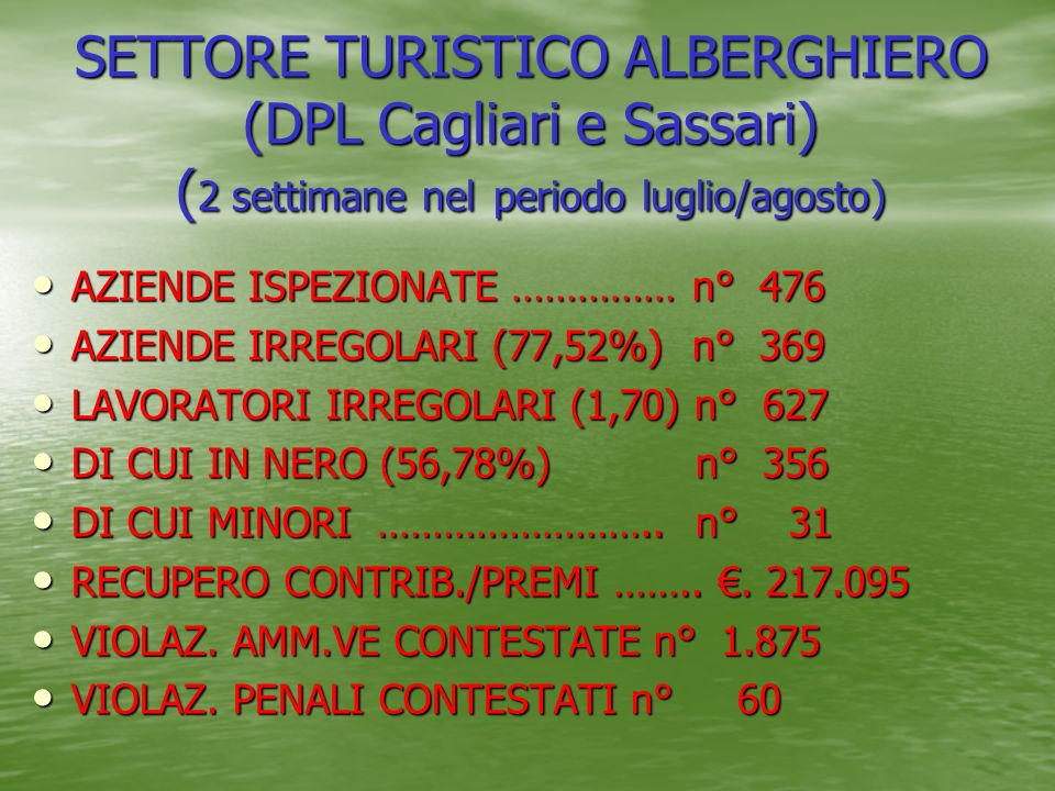 SETTORE TURISTICO ALBERGHIERO (DPL Cagliari e Sassari) (2 settimane nel periodo luglio/agosto)