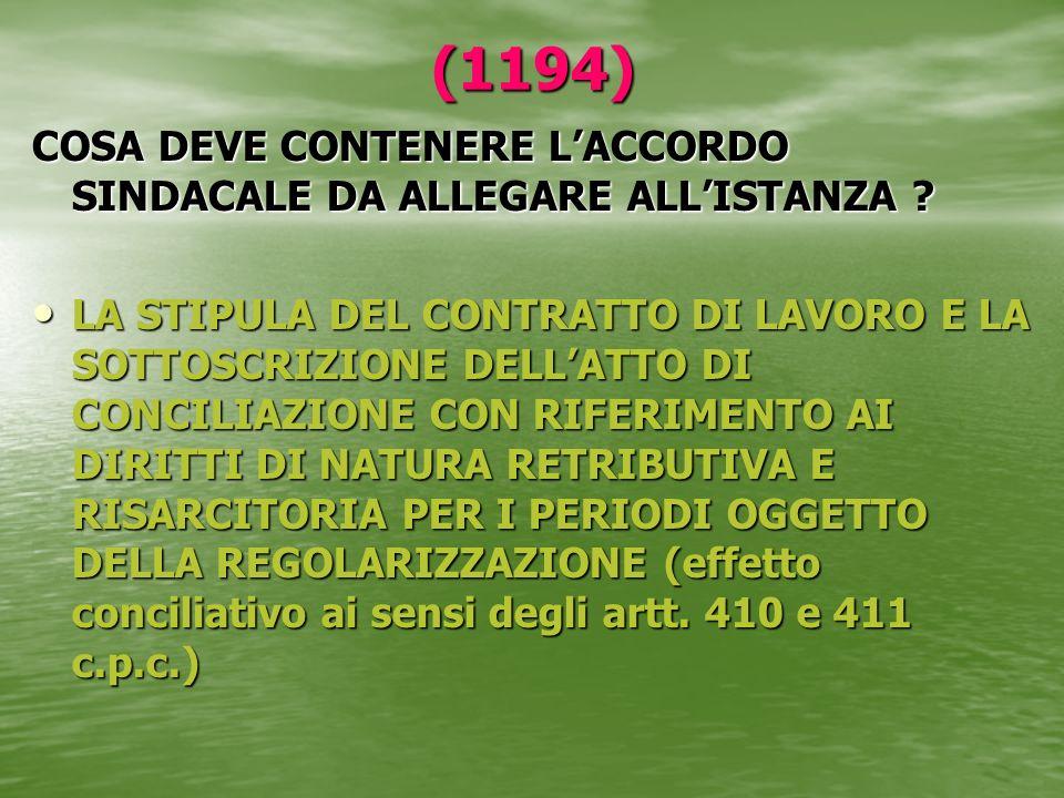 (1194) COSA DEVE CONTENERE L'ACCORDO SINDACALE DA ALLEGARE ALL'ISTANZA