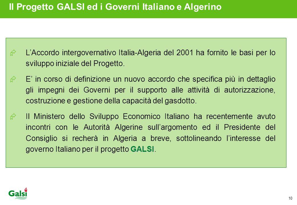 Il Progetto GALSI ed i Governi Italiano e Algerino