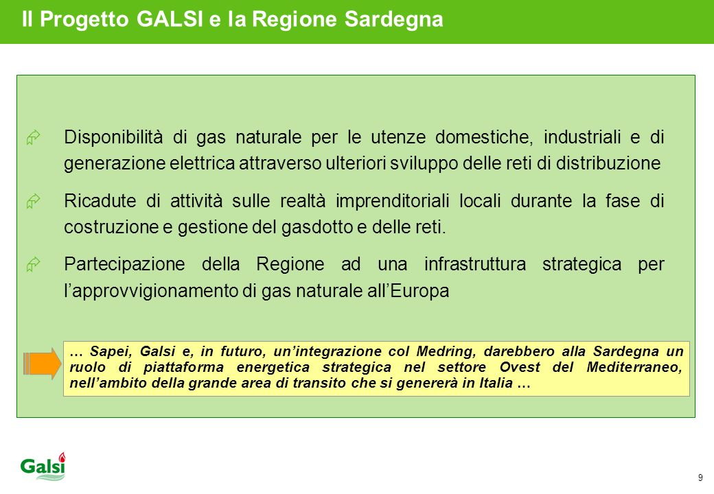 Il Progetto GALSI e la Regione Sardegna