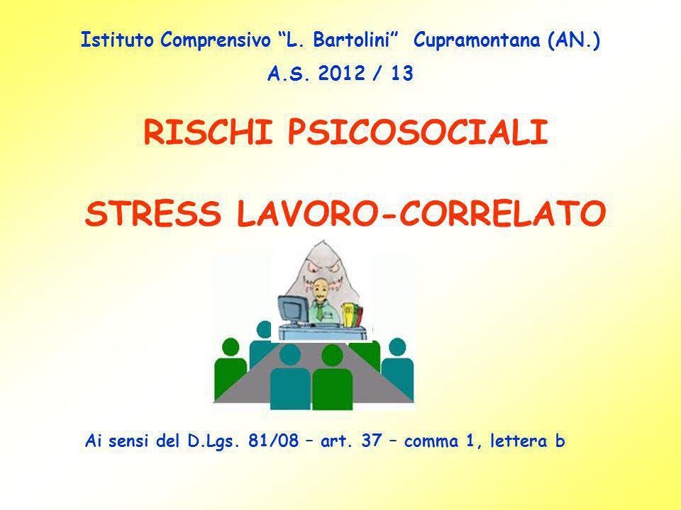 RISCHI PSICOSOCIALI STRESS LAVORO-CORRELATO