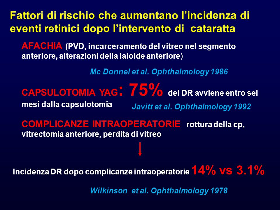 Incidenza DR dopo complicanze intraoperatorie 14% vs 3.1%