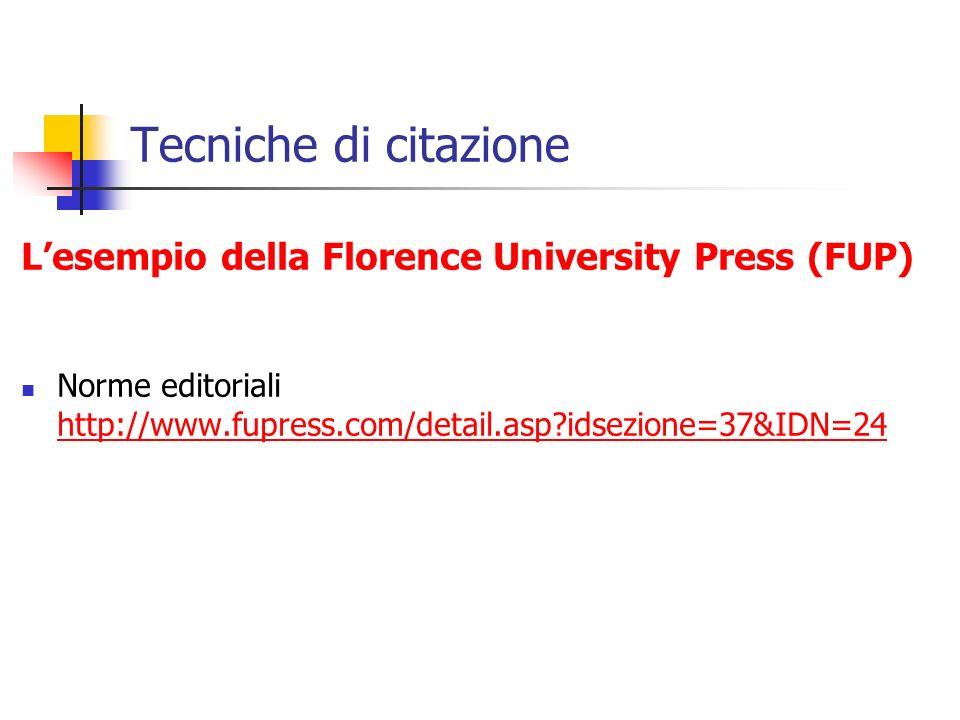 Tecniche di citazione L'esempio della Florence University Press (FUP)