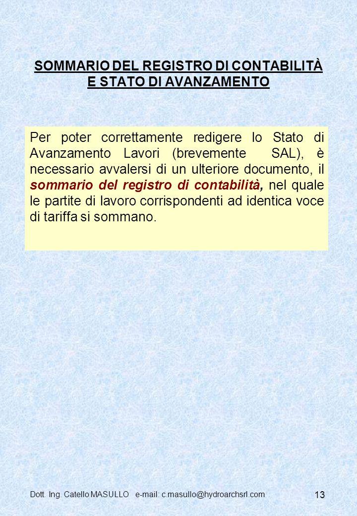 SOMMARIO DEL REGISTRO DI CONTABILITÀ E STATO DI AVANZAMENTO