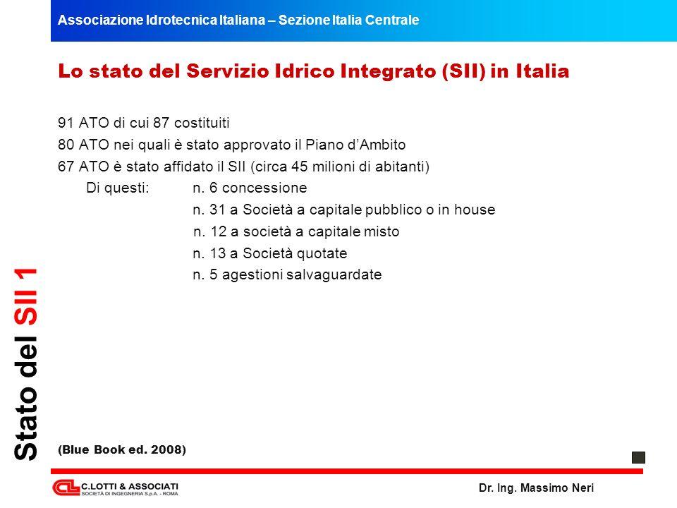 Stato del SII 1 Lo stato del Servizio Idrico Integrato (SII) in Italia