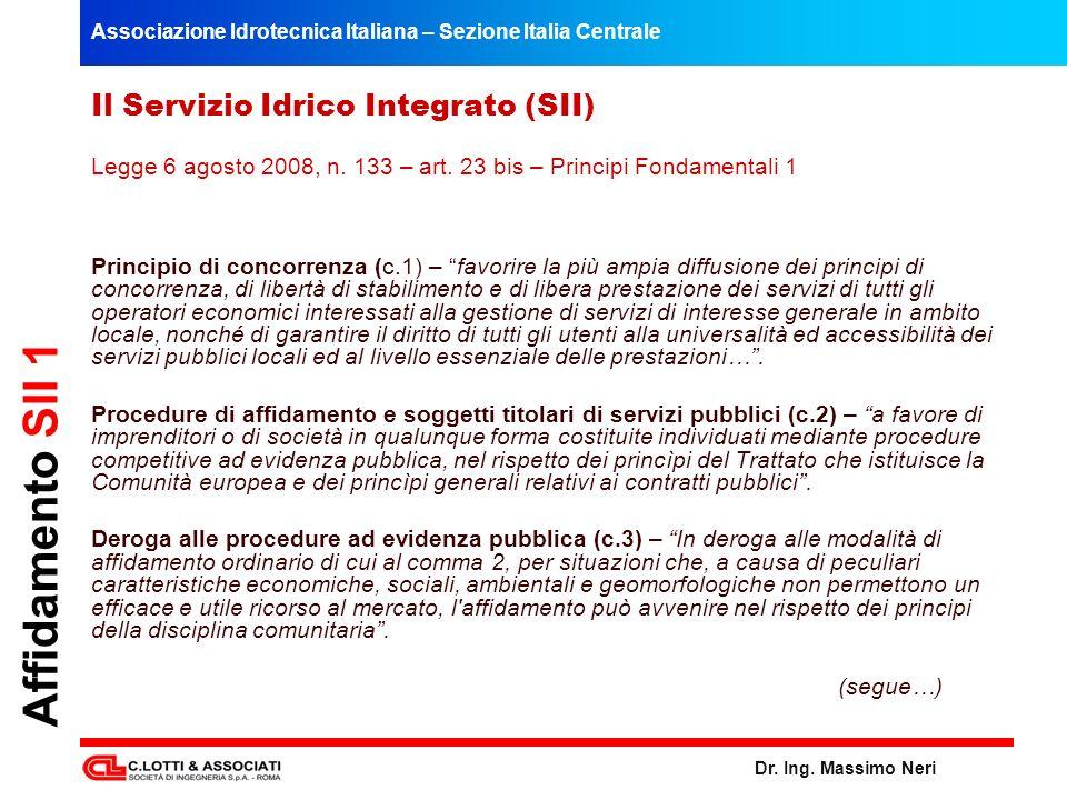 Affidamento SII 1 Il Servizio Idrico Integrato (SII)