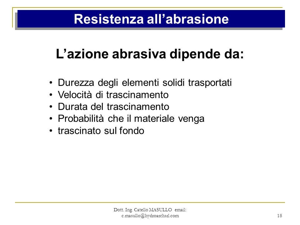 Resistenza all'abrasione L'azione abrasiva dipende da:
