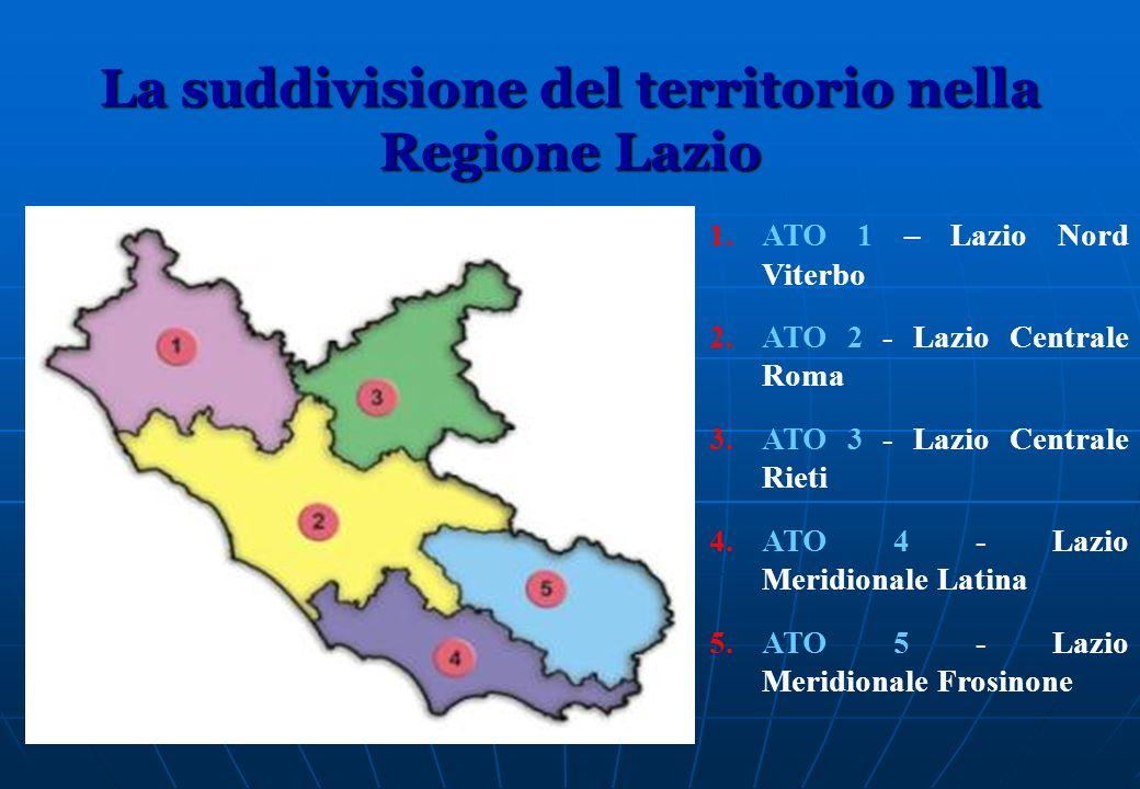 La suddivisione del territorio nella Regione Lazio