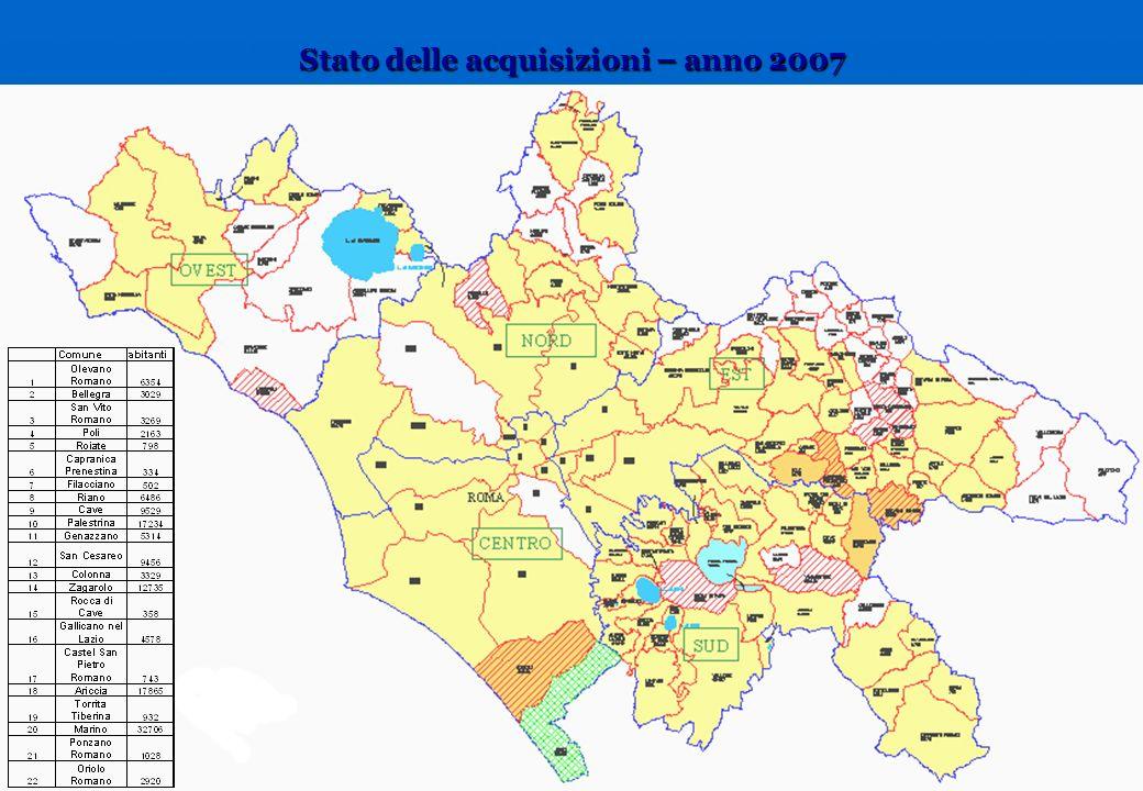 Stato delle acquisizioni – anno 2007
