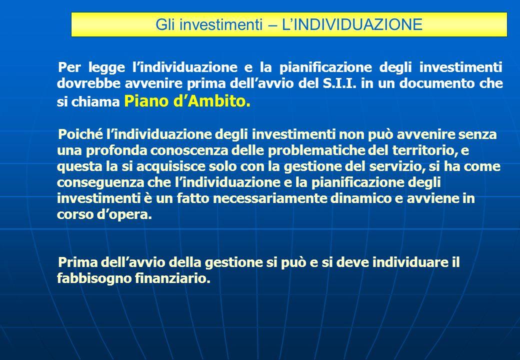 Gli investimenti – L'INDIVIDUAZIONE