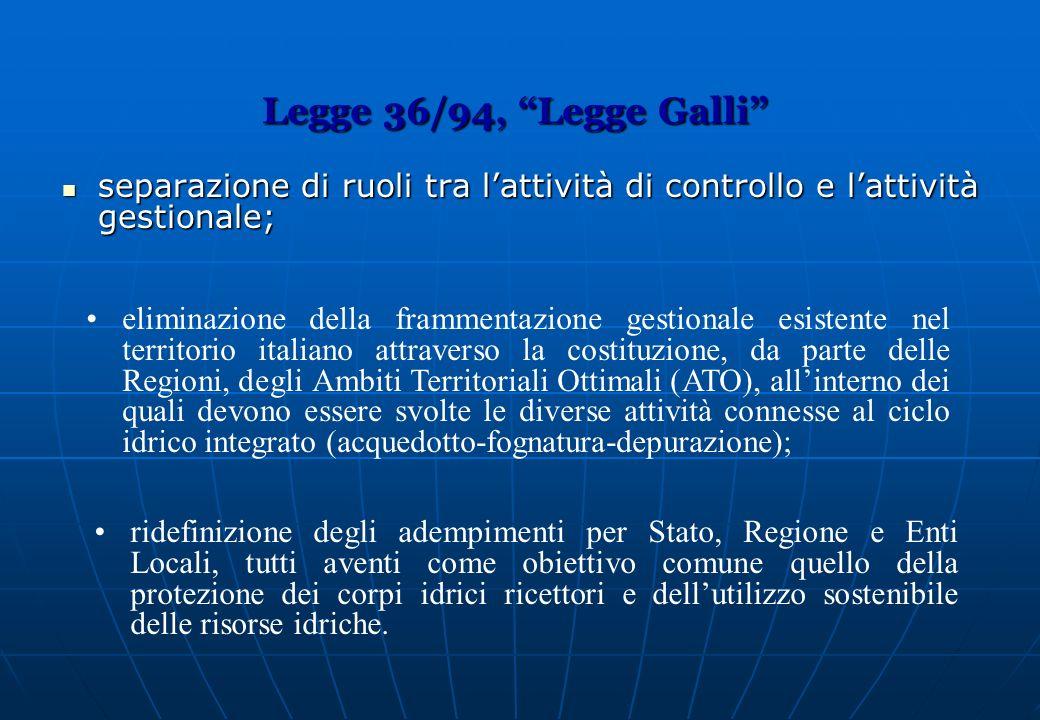 Legge 36/94, Legge Galli separazione di ruoli tra l'attività di controllo e l'attività gestionale;