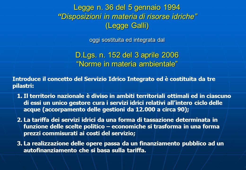 Legge n. 36 del 5 gennaio 1994 Disposizioni in materia di risorse idriche (Legge Galli) oggi sostituita ed integrata dal D.Lgs. n. 152 del 3 aprile 2006 Norme in materia ambientale