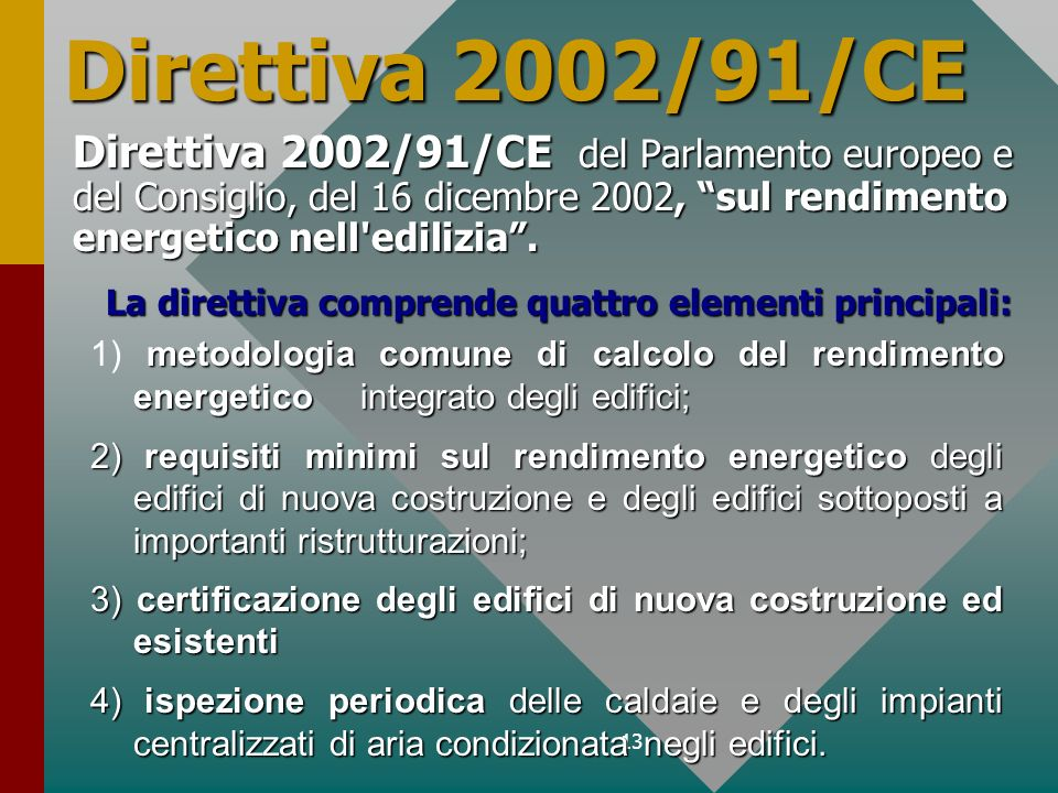 Direttiva 2002/91/CE Direttiva 2002/91/CE del Parlamento europeo e del Consiglio, del 16 dicembre 2002, sul rendimento energetico nell edilizia .