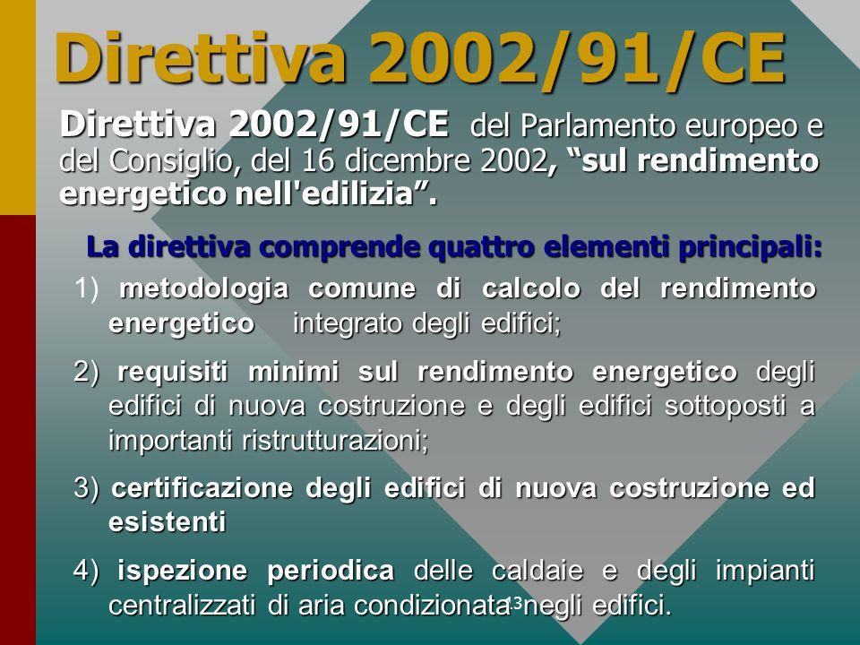 Direttiva 2002/91/CEDirettiva 2002/91/CE del Parlamento europeo e del Consiglio, del 16 dicembre 2002, sul rendimento energetico nell edilizia .