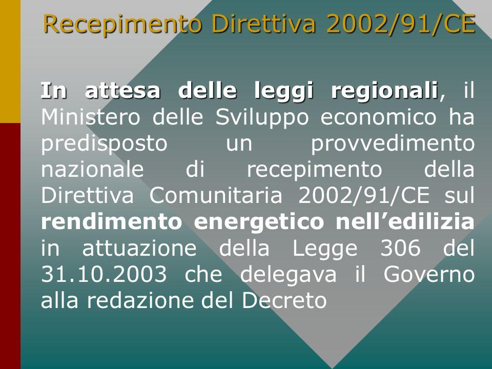 Recepimento Direttiva 2002/91/CE