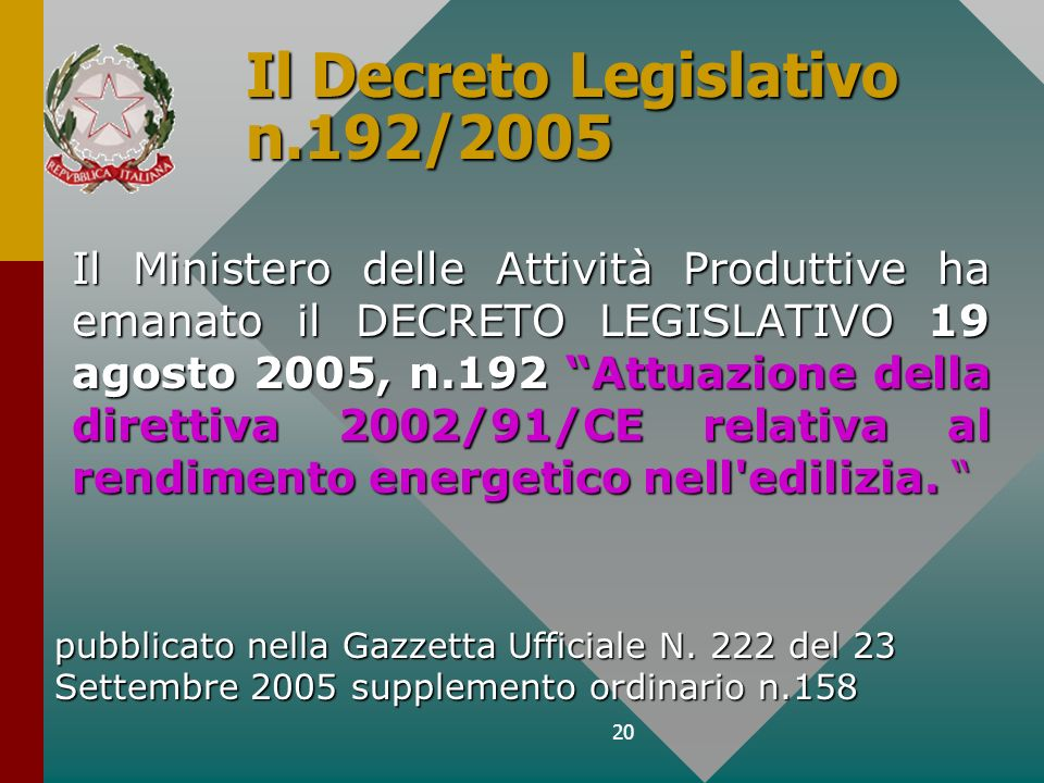 Il Decreto Legislativo n.192/2005
