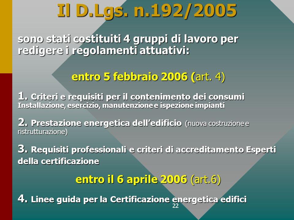 Il D.Lgs. n.192/2005 sono stati costituiti 4 gruppi di lavoro per redigere i regolamenti attuativi: