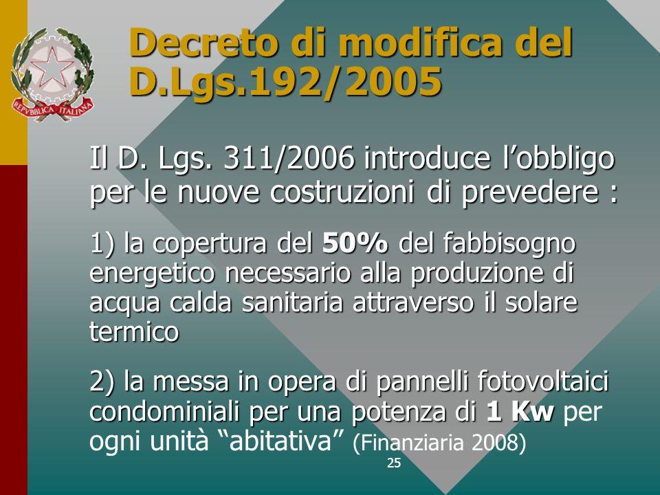 Decreto di modifica del D.Lgs.192/2005