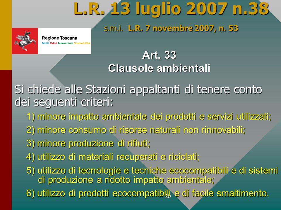 L.R. 13 luglio 2007 n.38 s.m.i. L.R. 7 novembre 2007, n. 53