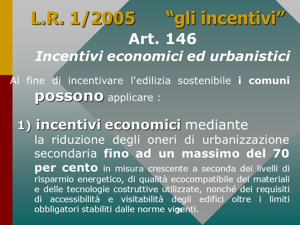 Incentivi economici ed urbanistici