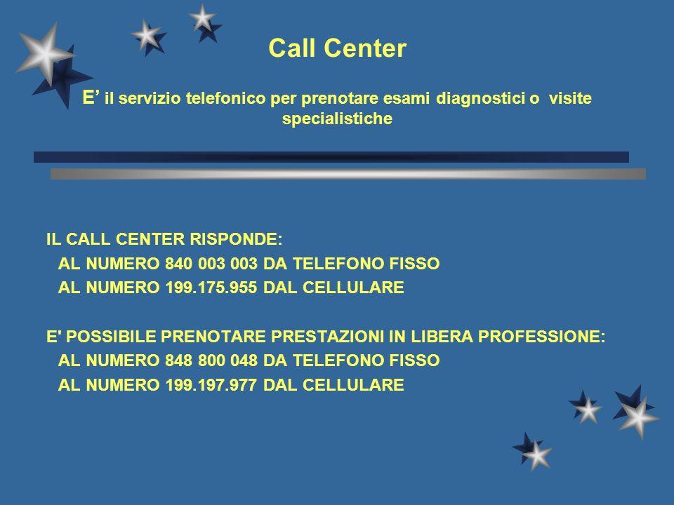 Call Center E' il servizio telefonico per prenotare esami diagnostici o visite specialistiche