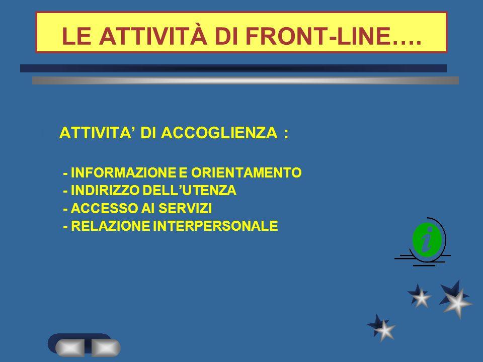 LE ATTIVITÀ DI FRONT-LINE….