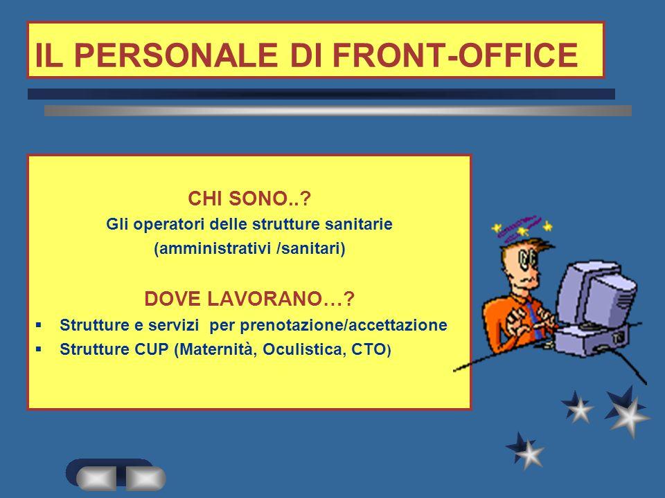 IL PERSONALE DI FRONT-OFFICE
