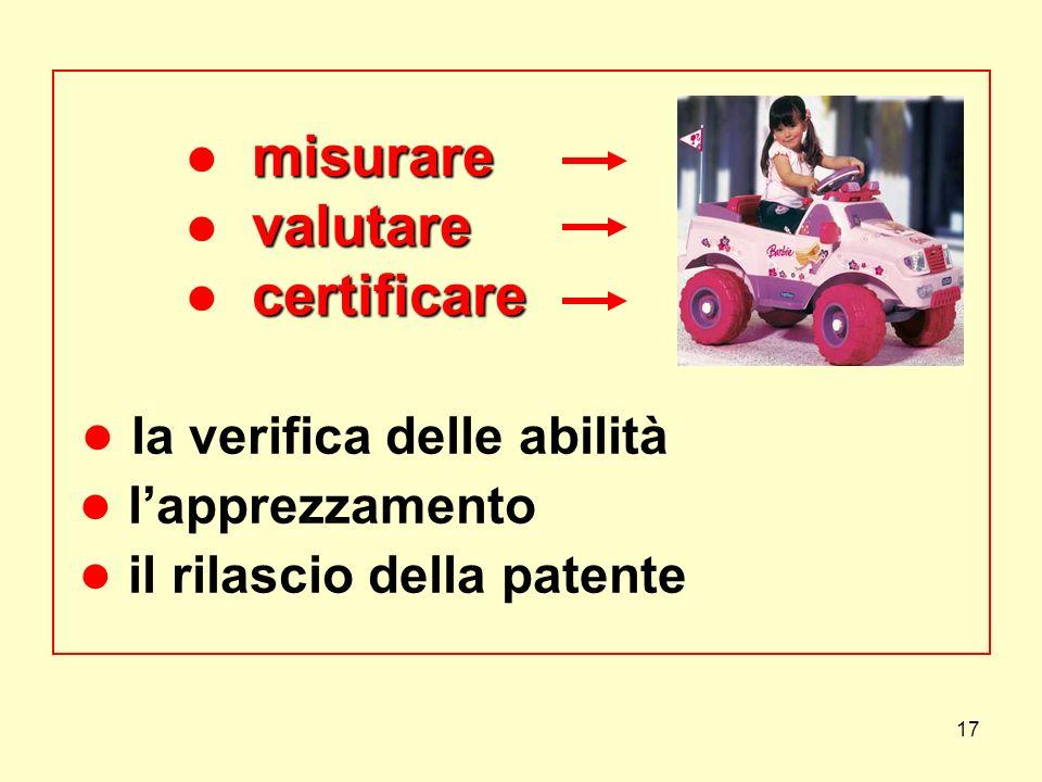 ● misurare ● valutare ● certificare ● la verifica delle abilità ● l'apprezzamento ● il rilascio della patente