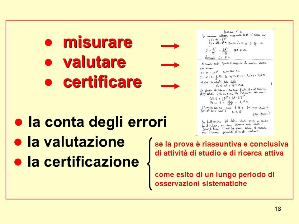 ● misurare ● valutare ● certificare ● la conta degli errori ● la valutazione ● la certificazione