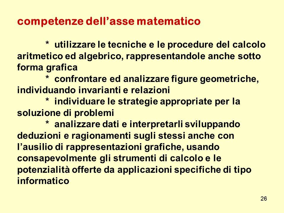 competenze dell'asse matematico