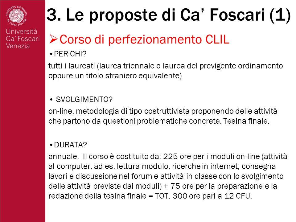 3. Le proposte di Ca' Foscari (1)