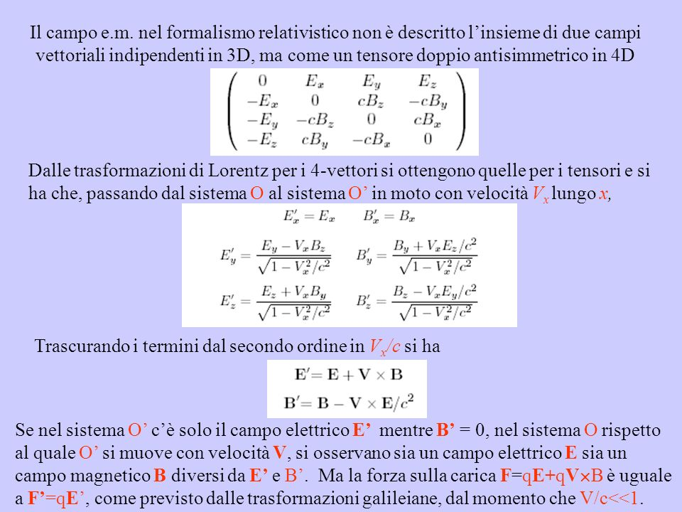 Il campo e.m. nel formalismo relativistico non è descritto l'insieme di due campi vettoriali indipendenti in 3D, ma come un tensore doppio antisimmetrico in 4D