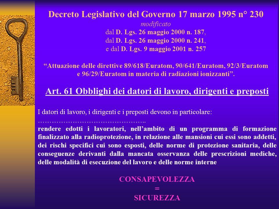 Art. 61 Obblighi dei datori di lavoro, dirigenti e preposti